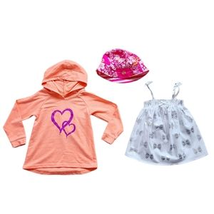 Lot of Girl's Hoodie Tank Top & Sun Hat Size 4T